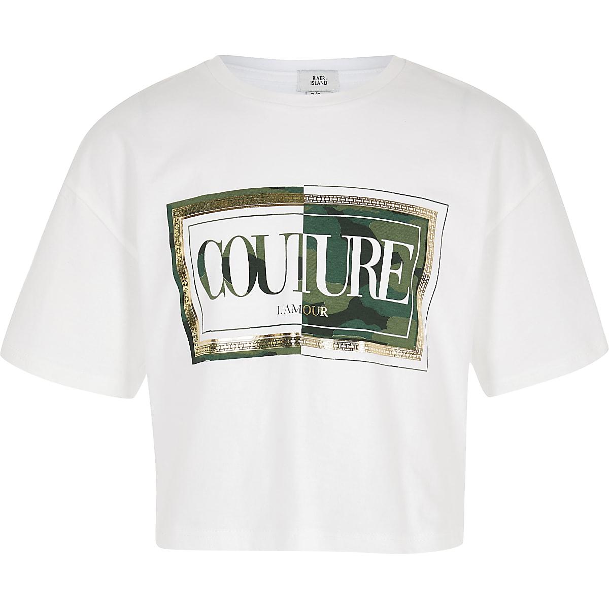 Girls white camo 'Couture' print crop T-shirt