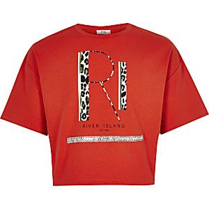 Rood cropped T-shirt met RI-print voor meisjes