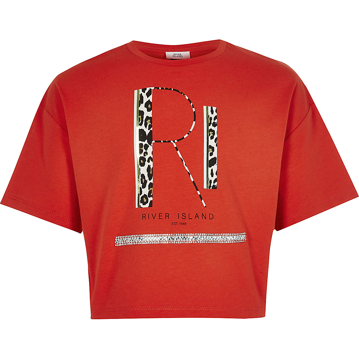 Girls red RI print crop T-shirt
