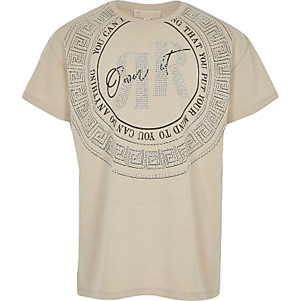 Girls beige 'own it' RI T-shirt