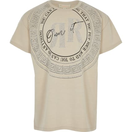 Girls beige 'own it' RI T-shirt