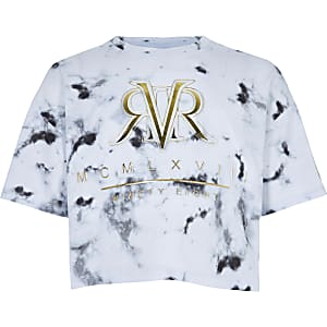 3be3e110 Girls RI Active white marble print T-shirt