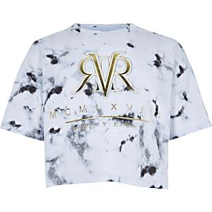 RI Active – T-shirt à imprimé marbré blanc pour fille