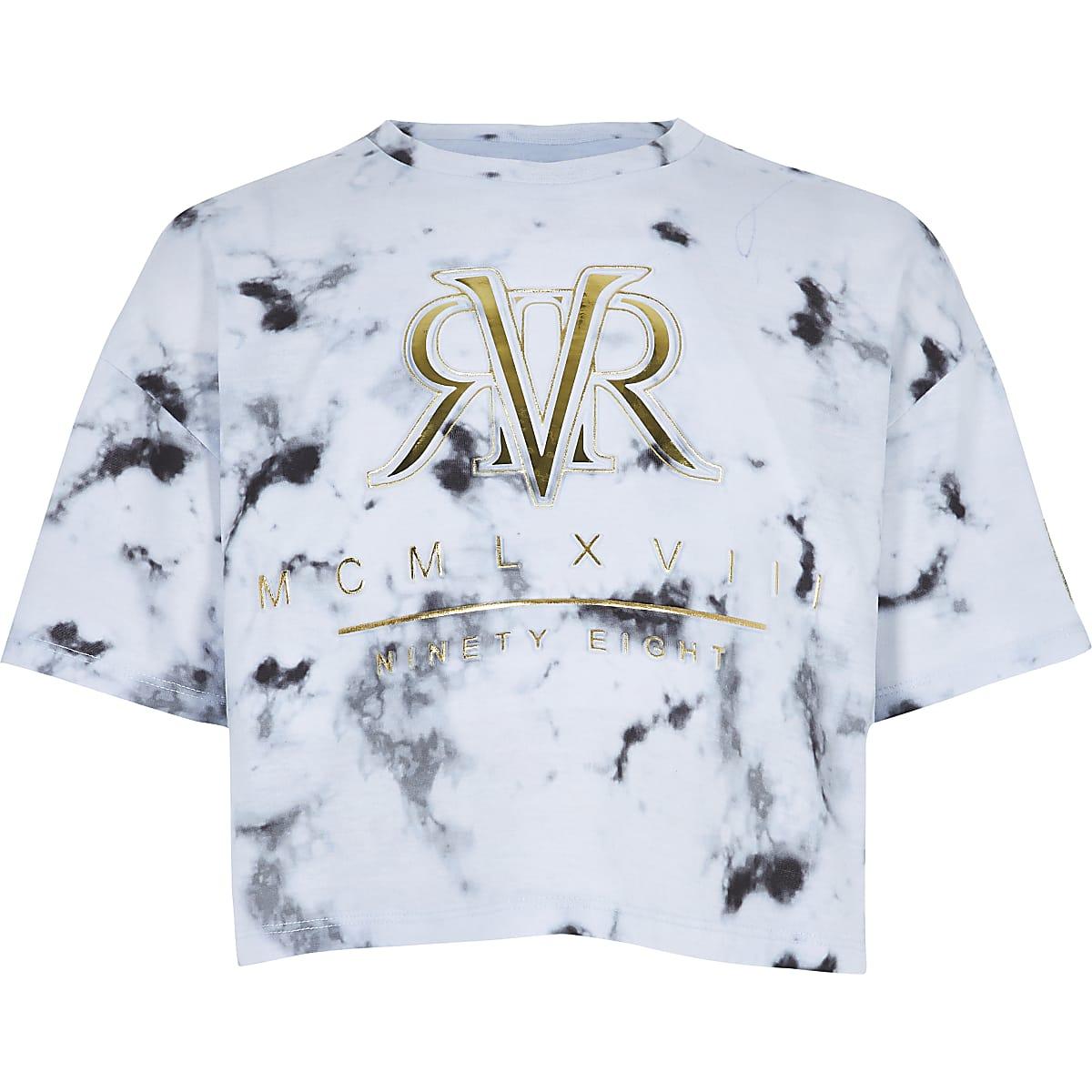RI Active - Wit T-shirt met marmerprint voor meisjes