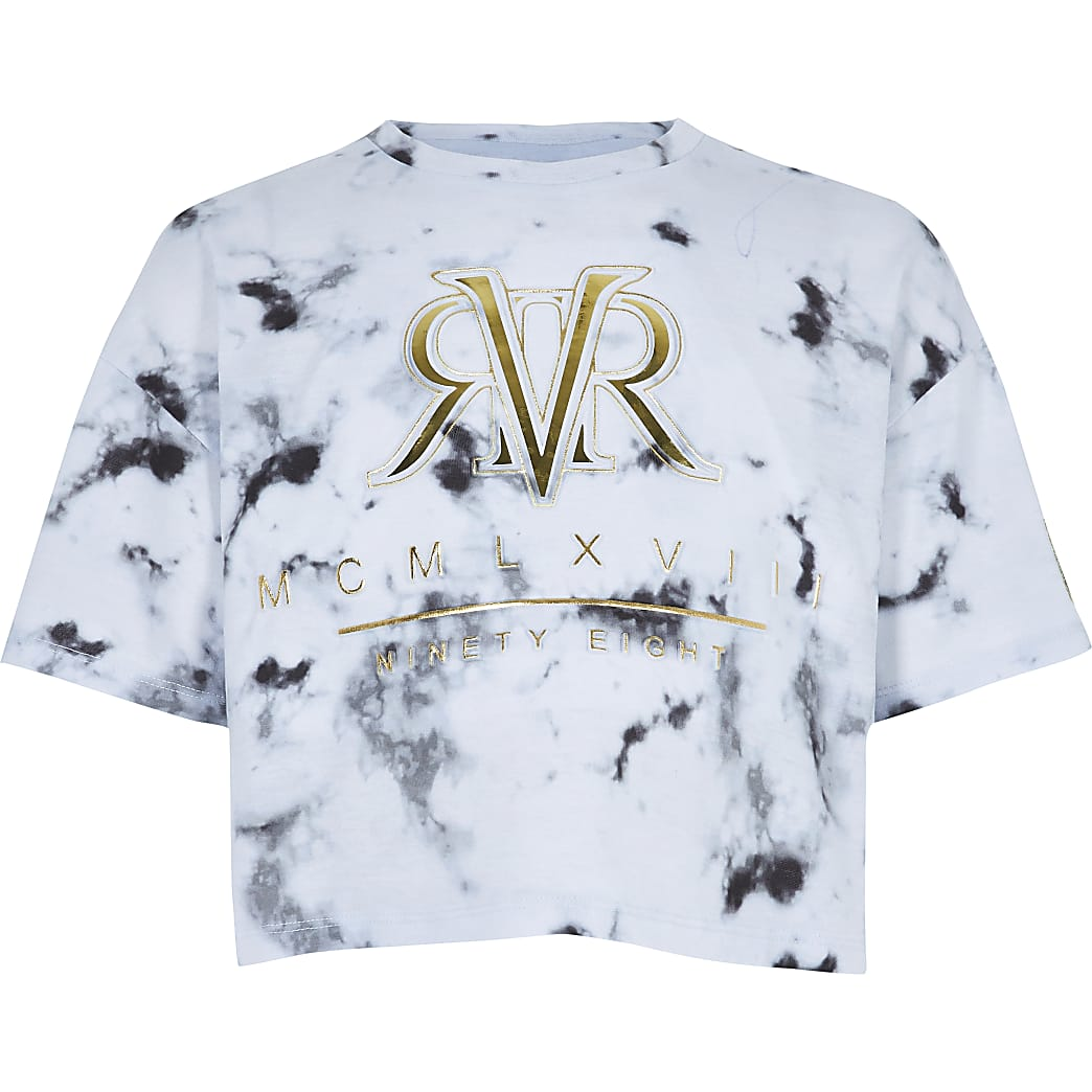 Girls RI Active white marble print T-shirt