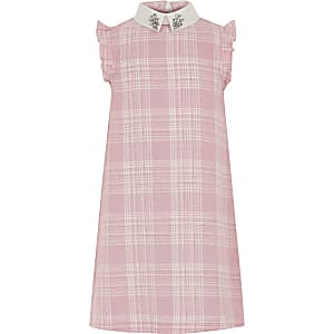 Robe droite à carreaux rose pour fille