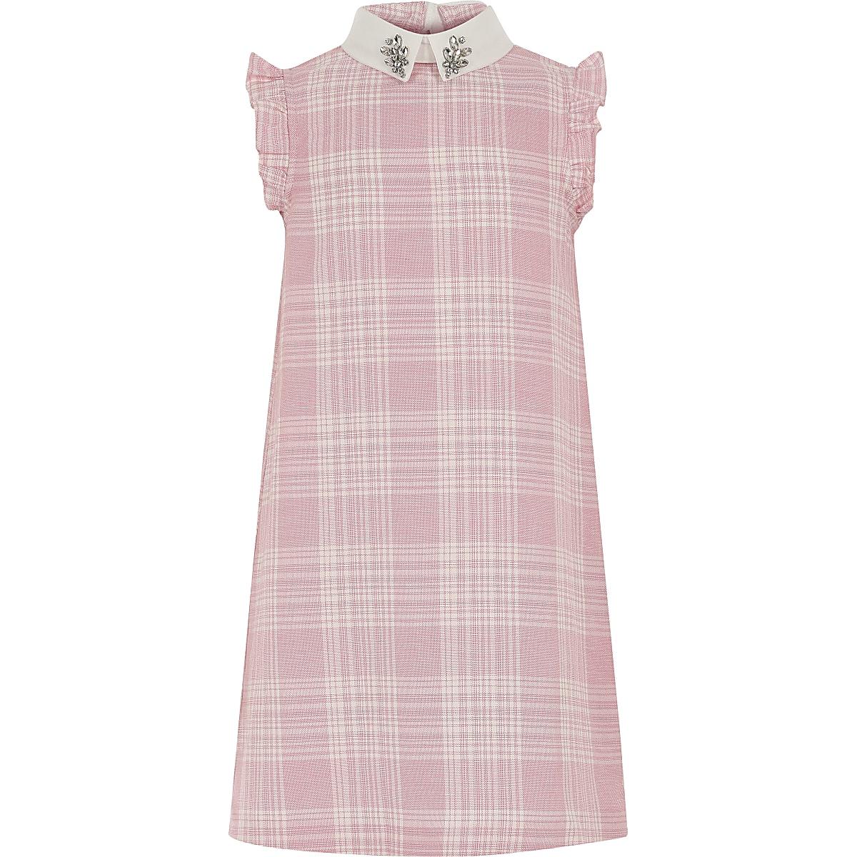 Girls pink check shift dress