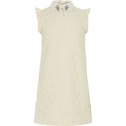 Girls cream lace shift dress