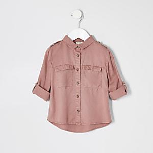 Chemise en lyocell rose pour mini fille