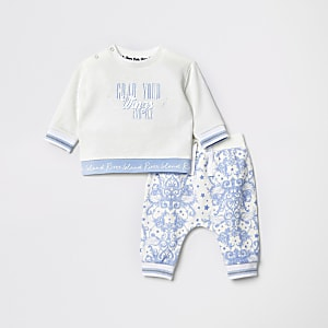 Baby white slogan sweat and jogger set