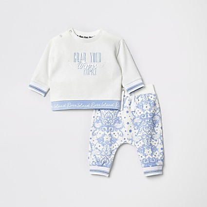 Baby white slogan sweat and jogger outfit