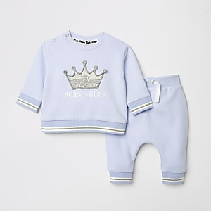 Baby blue slogan print sweat and jogger set