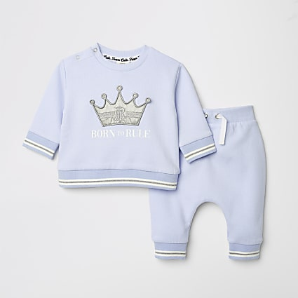 Baby blue print sweat and jogger outfit