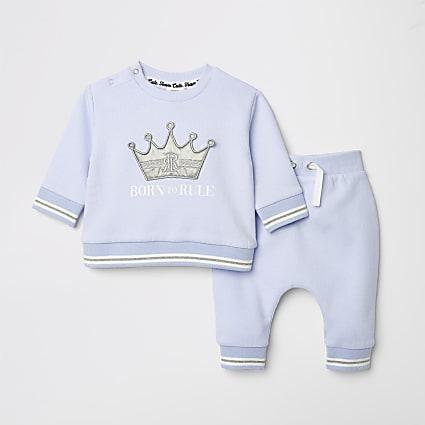 Baby blue slogan print sweat and jogger set