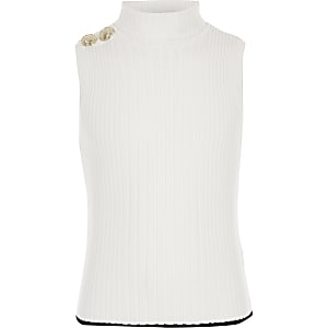Girls cream roll neck tank top