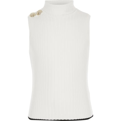 Girls cream roll neck knitted tank top