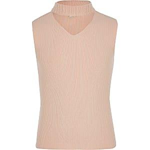Roze top met parelhals voor meisjes