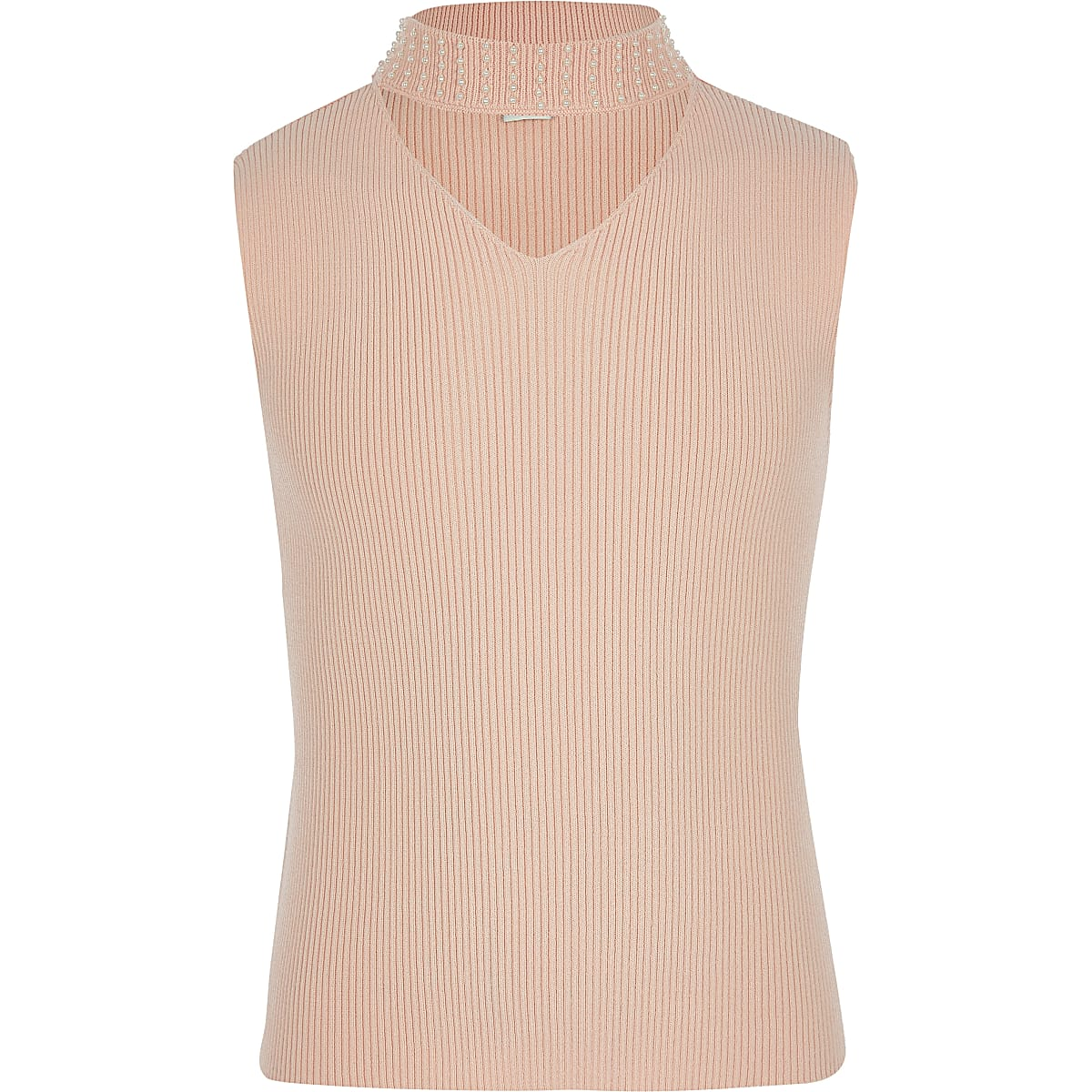 Girls pink pearl neck top