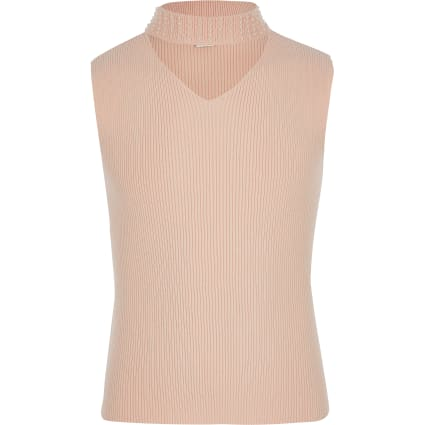 Girls pink pearl neck knitted top
