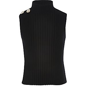 Girls black roll neck tank top