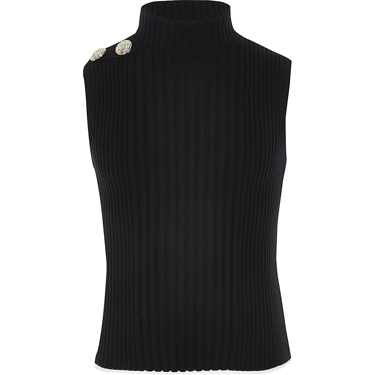 Girls black roll neck knitted tank top