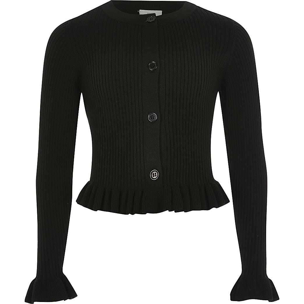 Girls black ribbed frill hem cardigan