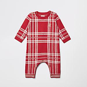 Tricot bébé à carreaux rouges