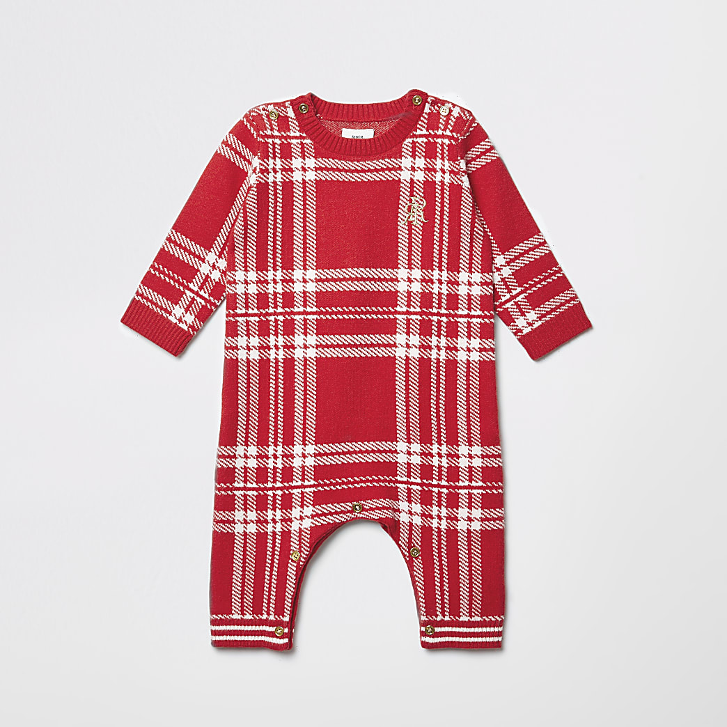 Baby red check knitted baby grow