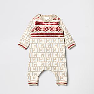 Baby - cremefarbenes Baby Outfit mit RI Monogramm