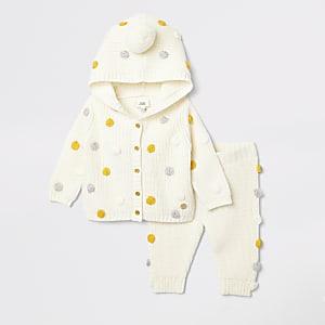 Ensemble avec cardigan en maille à capuche crème pour bébé