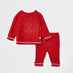 Pull tricoté rouge pour bébé - Tenue de bébé