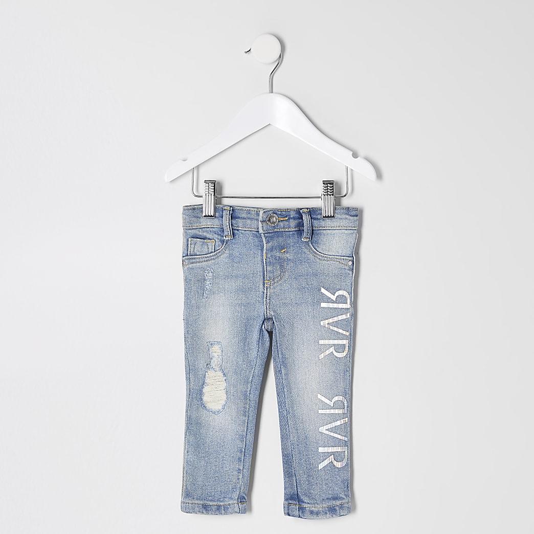 Mini – Molly – Blaue Jeggings mit RVR-Print für Mädchen