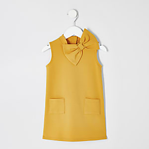 Robe droite jaune mini fille
