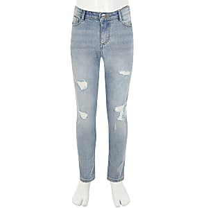 Girls blue ripped Amelia skinny jeans