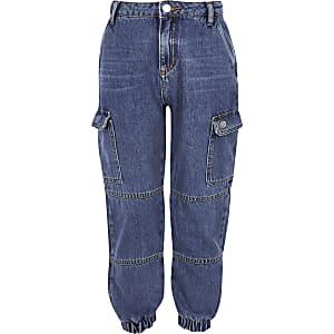 Jean bleu style pantalon de jogging pour fille