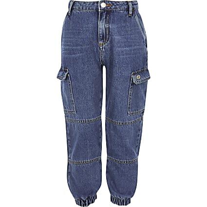 Girls blue denim jogger jeans