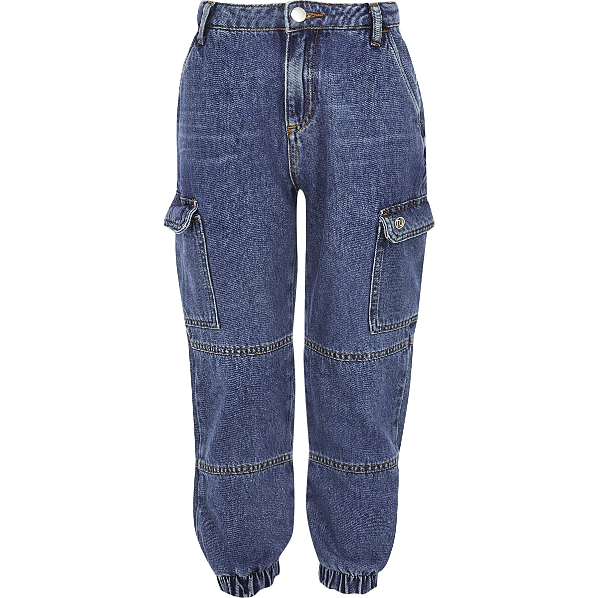 Girls blue denim jogger jeans