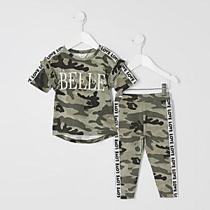 Ensemble avec t-shirt camouflage imprimé «La belle»
