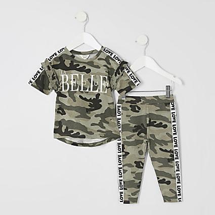 Mini girls camo 'La belle' T-shirt outfit