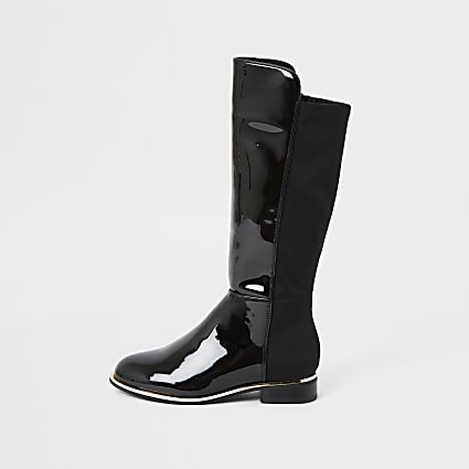 Girls black patent knee high boots