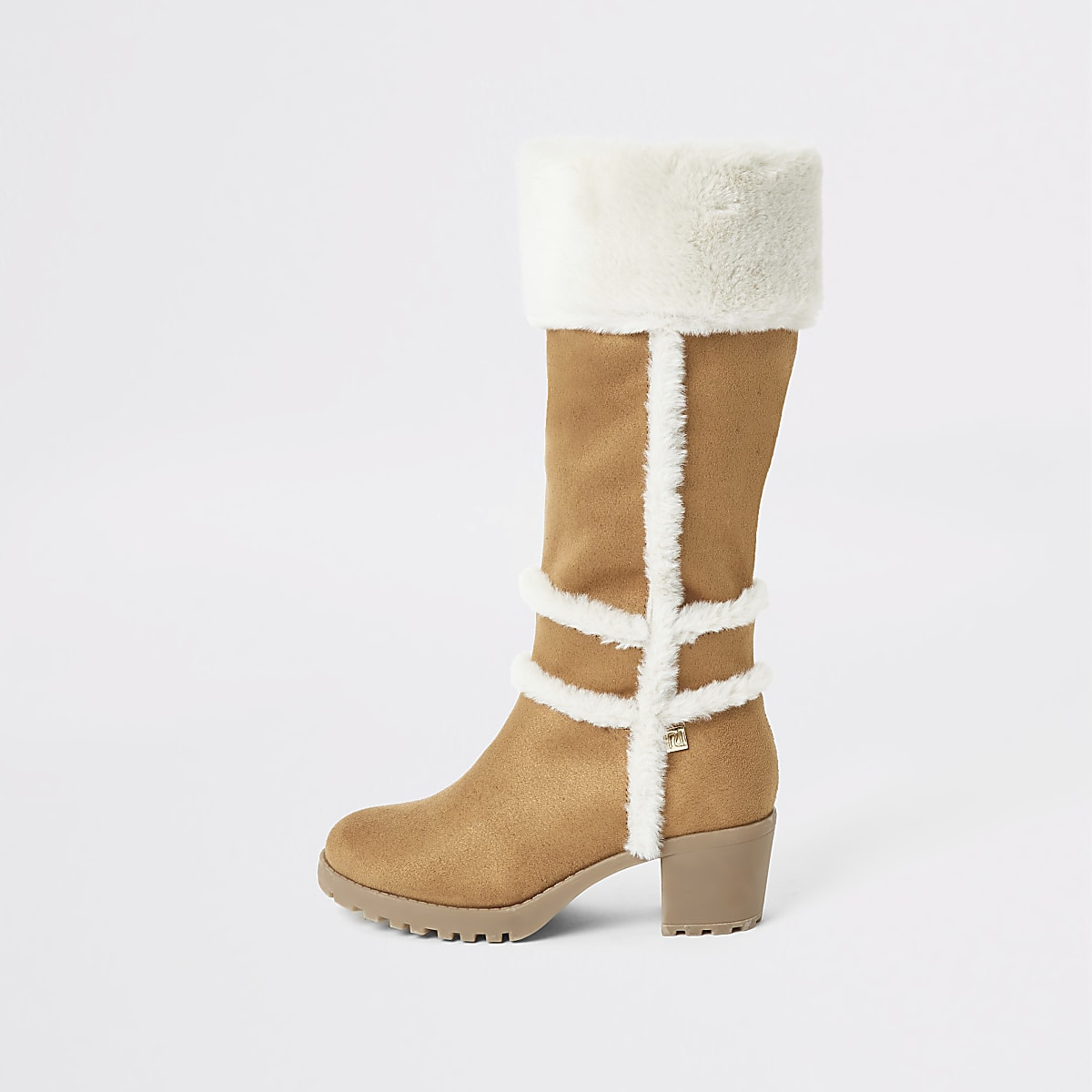 Girls brown faux fur heeled knee high boots