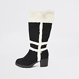 Girls black faux fur knee high boots