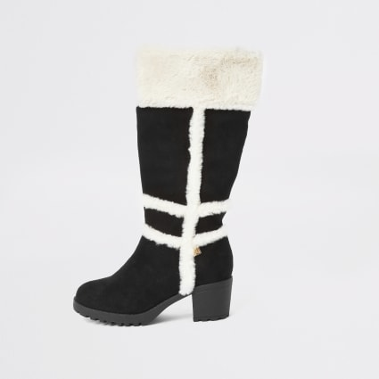Girls black faux fur knee high boots