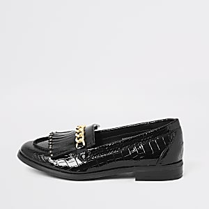 Girls black patent croc embossed loafers