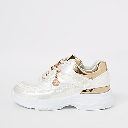Girls white iridescent chunky sole trainer