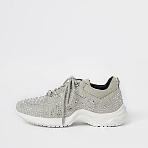 Zilverkleurige verfraaide stevige sneakers voor meisjes