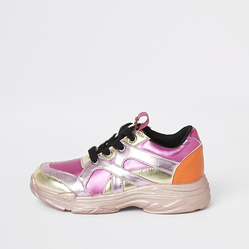 Girls pink metallic trainers