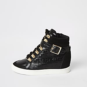 Schwarze, hohe Sneakers mit RI-Monogramm für Mädchen