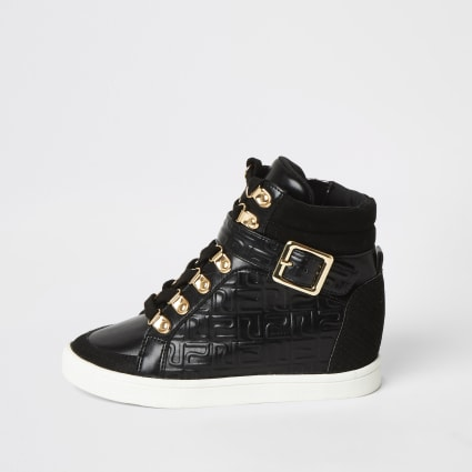 Girls black RI monogram hi top trainers