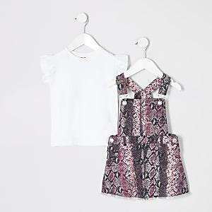Mini - Outfit met overgooier met slangenprint voor meisjes